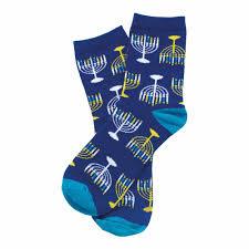 chanukah socks chanukah gifts blue menorah crew socks