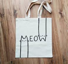 meow hand painted tote bag shopping bag grocery bag