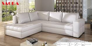 new leather corner sofa boston white grey brow black fabric 2 3