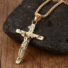 mens cross crucifix necklace images Vnox vintage crucifix pendant necklace for men stainless steel jpg