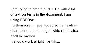 java how to generate multiple lines in pdf using apache pdfbox