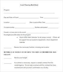 5 event planning worksheet templates u2013 free word documents