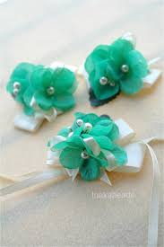 Mint Green Corsage Inakabeads Workshop Handmade Fabric Flower Jewelry Wedding