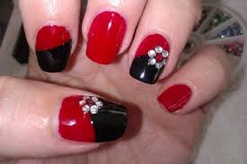 nail art designs red and black
