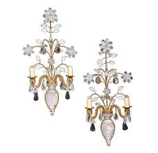 Two Light Wall Sconce Pair Of Bagues Style Rock Crystal And Smokey Quartz Two Light Wall