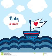 baby shower card with ship sea and clouds design vector toys
