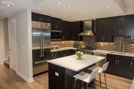 superb kitchens with black tile black wood cabinetry and island contrast with patterned tile