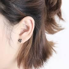 black earrings studs sweet leaves retro mini silver girl s earring studs