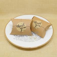 thank you favors 96pcs lot kraft pillow candy box with thank you tag sticker