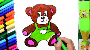 draw and color cute teddy bear coloring page and learn colors for