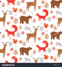 squirrel wrapping paper seamless background pattern forest animals fox stock vector
