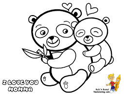 mothers day coloring page of momma and baby panda bears you can