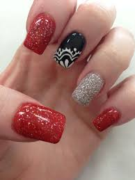 black red silver with lace nail design 6 black red nail design