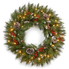 2ft pre lit frosted berry artificial wreath