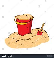 colorful illustration bucket shovel on pile stock vector 306023849