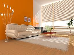 living room interior of a hall with a soft zone orange color
