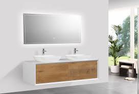 bathoom furniture set fiona 1400 white matte body and oak drawers