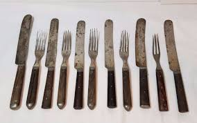 vintage antique civil war era 3 tine fork knife wood inlay