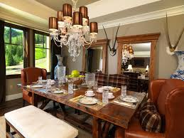 mirrored dining table dining room traditional with antlers bench
