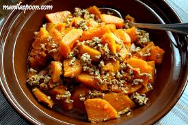 sauteed butternut squash with ground beef pork ginisang kalabasa
