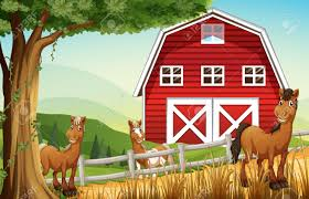 Barnhouse by Illustration Of The Horses At The Farm Near The Red Barnhouse