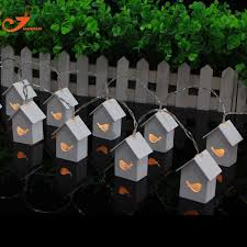 Decorating Christmas Lights Indoors by Aliexpress Com Buy Wooden House Bird Lights10 Led Party Lights