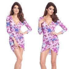 clubwear ladies beauty purple floral pattern clothes cocktail