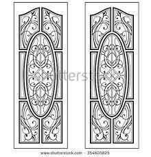 graphic ornament doors windows vector stock vector 217130635