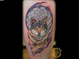 original colored and designed wolf on leg wf