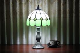 Tiffany Table Lamps Modern Tiffany Green Glass Beside Table Lamps Parrotuncle