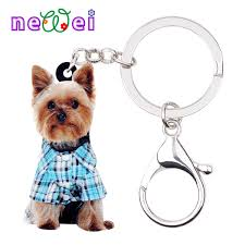 Newei Acrylic Cartoon Yorkshire Terrier Dog Key Chains Keychains