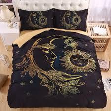 fanaijia 3d gold moon accompanys sun duvet cover with pillowcase black dark bedding set king size