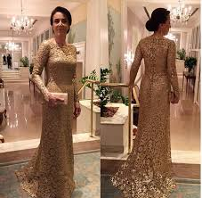 full lace gold mother of the bride dress long sleeves wedding