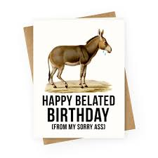 happy belated birthday from my sorry greeting cards human
