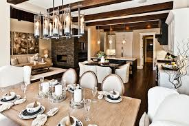 large rustic chandelier dining room rustic with open floor plan