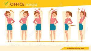 exercice au bureau de bureau fille exercice infographique et d étirement set 2