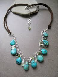leather turquoise necklace images Turquoise necklace blue green necklace leather necklace jpg