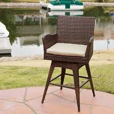 Christopher Knight Patio Furniture Reviews Braxton Wicker Swivel Patio Bar Stool With Cushion Multi Brown