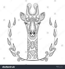 zentangle giraffe head totem frame stock vector 317524529