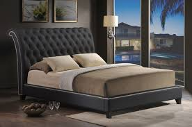 bedroom winsome black tufted headboard queen bed leather frame