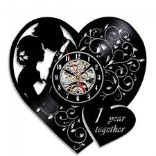 personalized anniversary clocks 1st wedding anniversary gift creative vinyl record wall clock