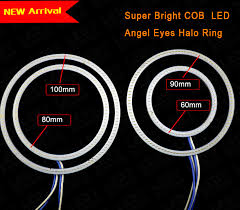 led halo headlight accent lights 2 x cob 60mm 70mm 80mm 90mm 100mm car angel eyes halo rings light