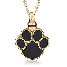 pet urn necklace charmsstory ashes pet dog cat paw print cremation urn