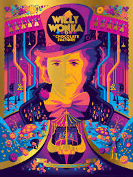this willy wonka poster is as colorful and manic as the movie itself