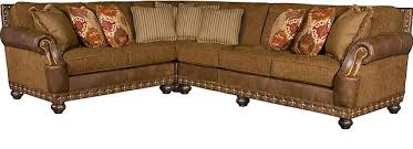 Sofa Leather And Fabric Combined by King Hickory
