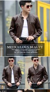 motor leather jacket new male leather short slim clothing design stand collar casual