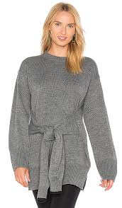 slit sweater j o a tie front high slit sweater in grey revolve