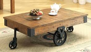 side table on casters industrial coffee table with wheels rustic distressed wagon wheel