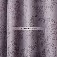 Silver Purple Curtains And Elegant Floral Purple Blackout Curtains Of Faux Suede