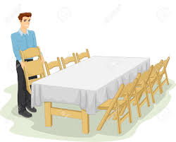Informal Table Setting by Illustration Of A Man Setting Up The Table For An Informal Dinner